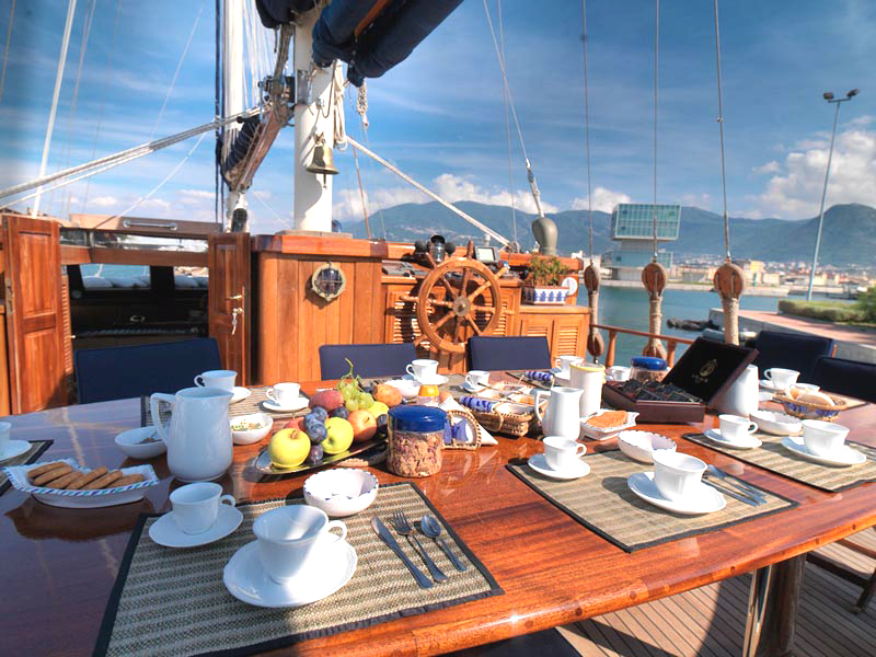 Myra yacht for sale exterior dining table