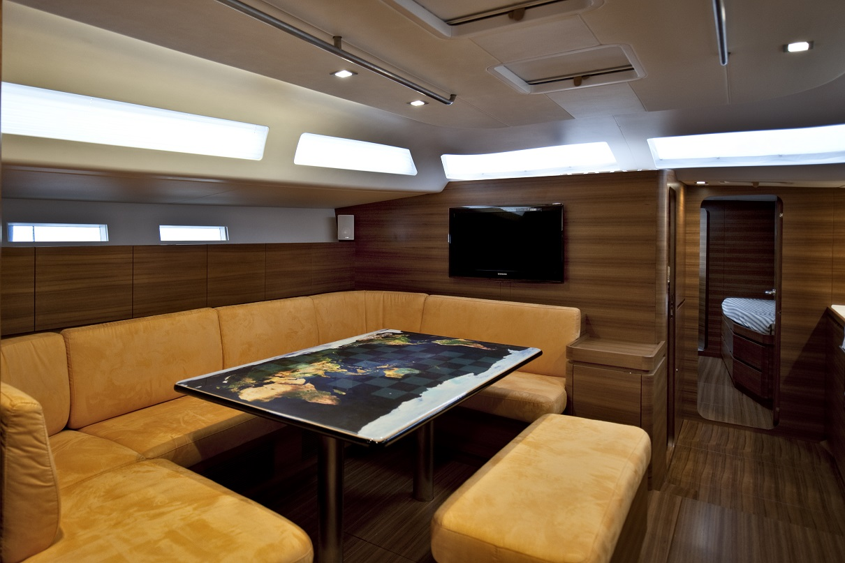 Almabrada yacht for sale interior table